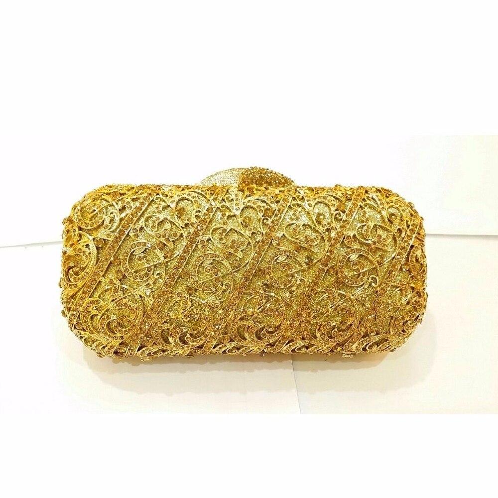 ФОТО 8315Lgo GOLD Crystal Lady Fashion Wedding Bridal Party Night hollow Metal Evening purse clutch bag box handbag case