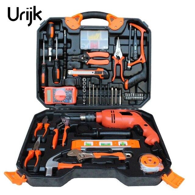 120Pcs Electrician Woodworking Hand Tool Set Box Impact Drill Multimeter Screwdriver Hammer Pliers Saw Household repair Tool Kit