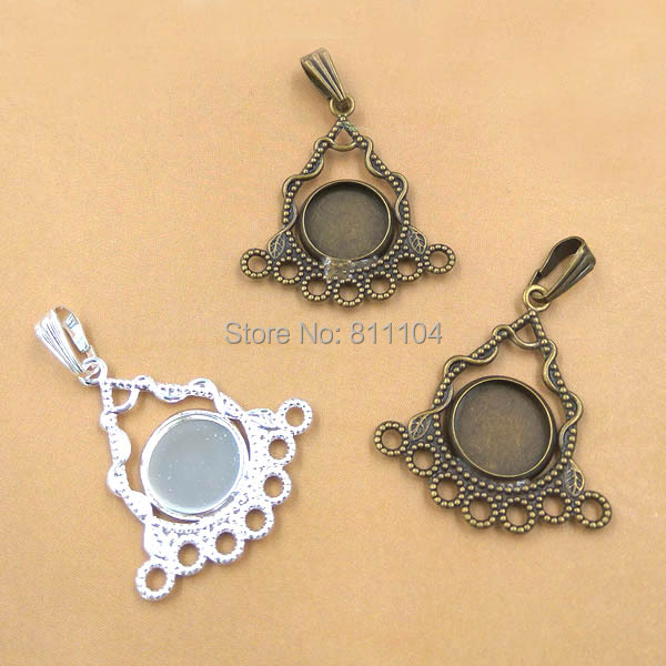 10mm Blank Round Bezel Bases Filigree Triangle Flower Bail Pendant Settings Cameo Jewelry Findings Clothing Accessories Making