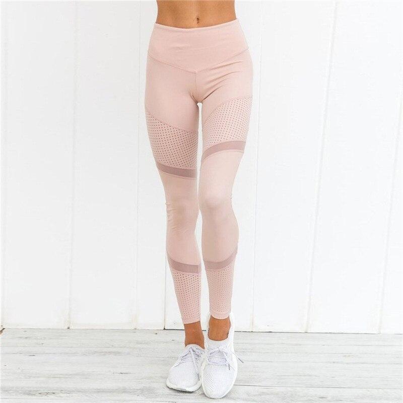 CHRLEISURE Leggings Women Breathable Mesh Hollow Leggings Fitness Feminina High Waist Ankle-Length Workout Leggings