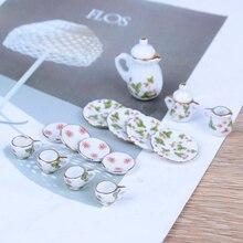 15 шт./компл. новые пластины Цветочный принт мебель игрушки кукольный домик миниатюра рестораны Товары фарфор Чай комплект пластины чашки