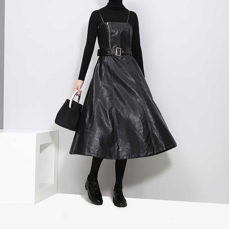Новинка 2019, женское черное сексуальное платье миди из искусственной кожи без рукавов, с поясом, ТРАПЕЦИЕВИДНОЕ, на тонких бретельках, элегантные вечерние платья для клуба, платье 3014