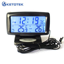 Car Electronic Clock Temperature Meter Auto Indoor And Outdoor Thermometer Dual Sensors LCD Blue Backlight(China)