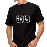 New PROBLEM SOLVED T Shirts Men Cotton Short Sleeve Funny Print Man T Shirt Free Shipping