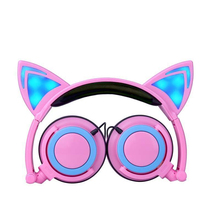 Foldable Flashing Glowing cat ear headphones Gaming Headset LED light Earphones For PC Laptop Computer Mobile Phone