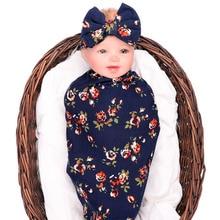 Wisbibi 2018 новый 2Pcs / Set! Новорожденная мода Baby Swaddle Blanket Baby Sleeping Swaddle Muslin Wrap Headband baby swaddle headban
