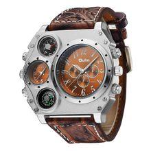1ce9eb5a541251 OULM 1349 Fashion Design Kompas Horloge Mannen Brede Lederen Band Dual Time  Grote Gezicht Quartz Horloge