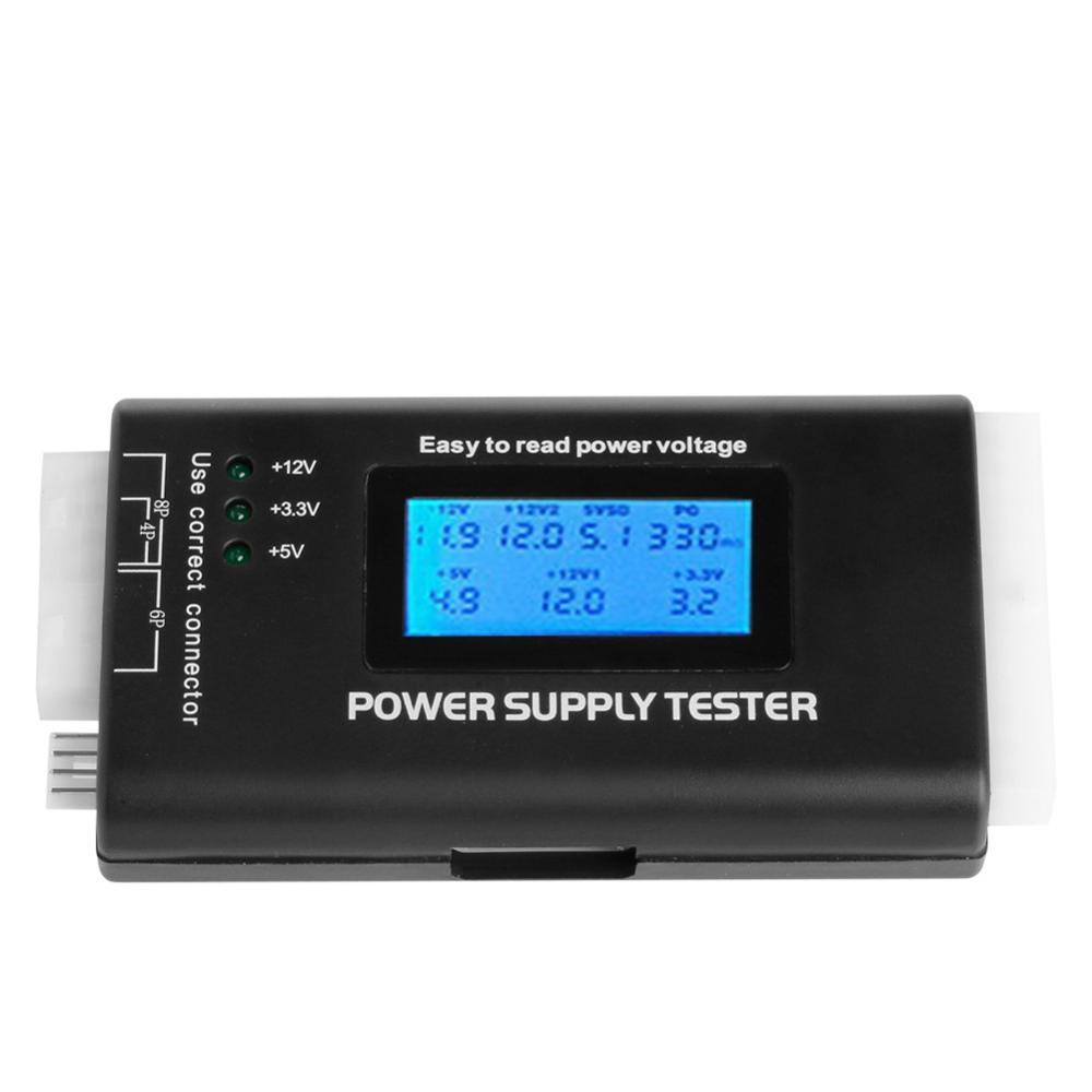 High Quality Digital LCD Power Supply Tester Multifunction Computer <font><b>20</b></font> <font><b>24</b></font> <font><b>Pin</b></font> Sata LCD PSU HD ATX BTX Voltage Test Source C26 image