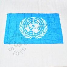 Nações unidas onu 90*150cm bandeira reunião desfile festa 3x5 pé pendurado bandeira nacional decoração para casa bandeira