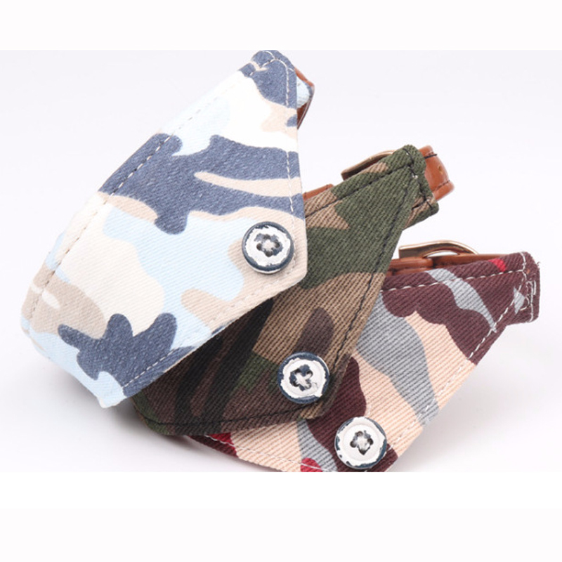 Camouflage style dog collar bow tie pet pupply product dog collar towel leash set necklace S Green Red Blue