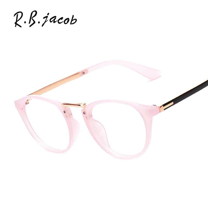 Brand Designer Men Women OVAL Metal Optics Classic Eyeglasses Frames Clear Transparent Lens Vintage Pink Glasses Small Frame