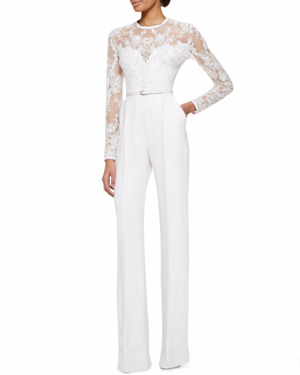 2016 white mother of the bride pant suits jumpsuit with long sleeves lace embellished women. Black Bedroom Furniture Sets. Home Design Ideas