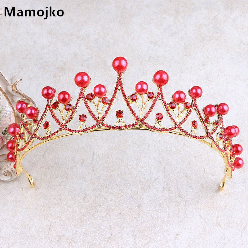 Mamojko Simple Red Rhinestone Pearl Gold Queen Wedding Crown Women Fashion Hair Accessories Charm Handmade Bridal Tiara Gifts