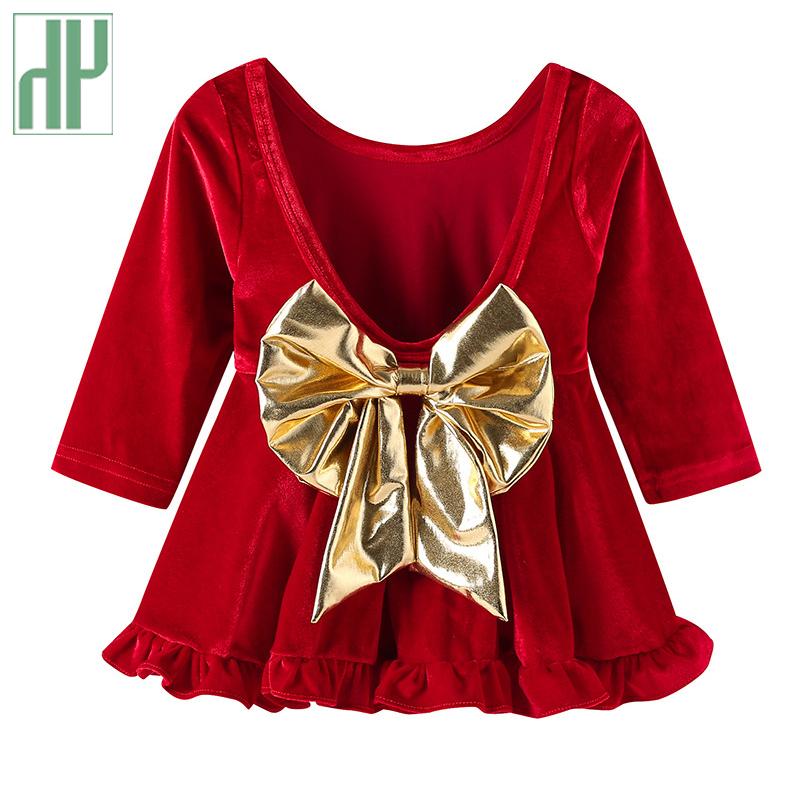 Children girls dress long sleeve a-line dresses girl red party princess costume kids bowknot dress for new year 1 2 3 5 years 2017 autumn new style 3 10 years girls dresses children bud silk princess dress long sleeved red christmas party dress