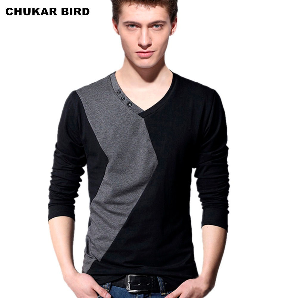 Buy chukar bird fashion men 39 s v neck long for Mens long sleeve t shirts sale