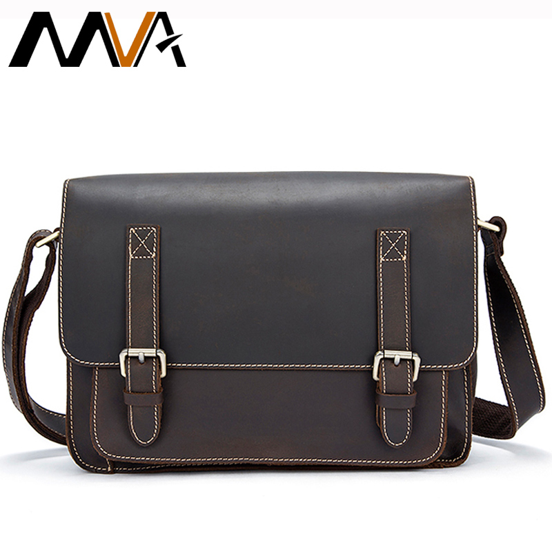 MVA Crossbody Bags Men Bag Crazy Horse Genuine Leather Vintage Messenger Bag Men Leather Shoulder Bags Male Hasp Satchels 1055