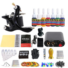 цена на Tattoo machine complete kit liner shader cheap coil tattoo set tattoo ink neddle foot pedal grips tattoo cream for body art