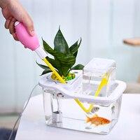 DADYPET USB Mini Fish Tank Desktop Aquarium with Hydroponic Pot Water Garden Ecological Fish Tank Aquarium Kit for Home Decor