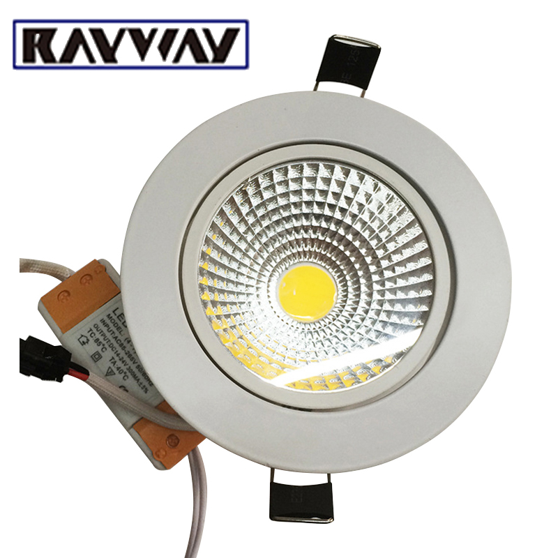 RAYWAY 10pcs/lot Dimmable LED Downlight 5W 7W 10W 15W 20W 25W 85-265V COB LED DownLights COB Spot Recessed Down light Light Bulb free shipping ultra bright gu10 dimmable 9w cree led cob spot down light bulb 85 265v