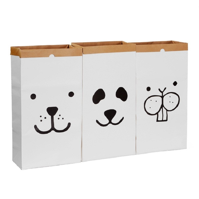 Nice INS Popular Heavy Kraft Paper Bag Creative Children Room Organizer Storage  Bag For Toy And Baby