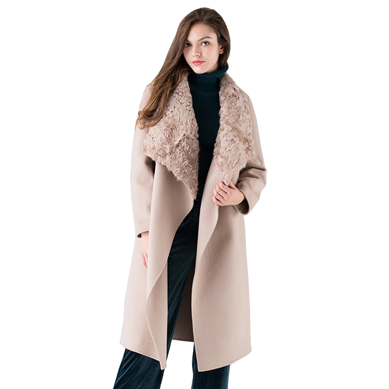 Natural Fur Collar Winter Wool Coat Women High end Double sided 100% Wool Cashmere Coat Female Fashion Trench Long Jacket Women
