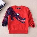 2016 outono e inverno nova tendência menino camisola de algodão dos desenhos animados das crianças suéter de lã 100% algodão de alta qualidade frete grátis