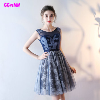 Elegant Dark Navy Lace Prom Dresses 2019 New Scoop Tulle Sleeveless Kenn-Length Casual Prom gowns Short Sexy Prom party dresses