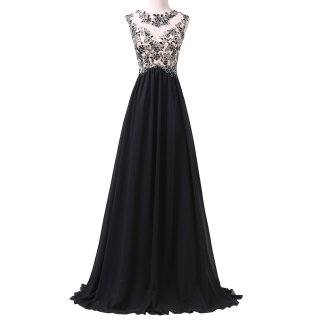 Long Elegant Prom Dresses Grace Karin Sleeveless Lace Appliques ...