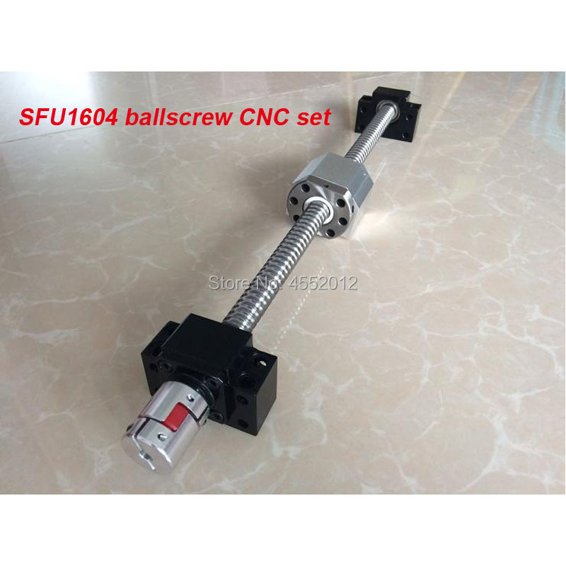 Ball screw set SFU1604 200 300 400 500 600 mm with end machined + 1604 ballnut + BK/BF12 end support +Nut Housing + CNC partsBall screw set SFU1604 200 300 400 500 600 mm with end machined + 1604 ballnut + BK/BF12 end support +Nut Housing + CNC parts