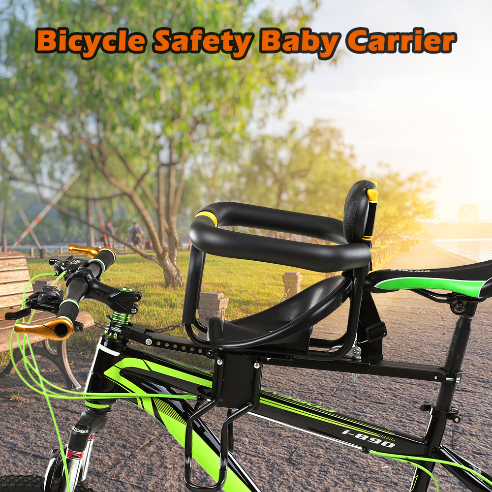 Child Baby Kids Bike Bicycle Front Seat Chair Carrier With Handrail Foot Pedals