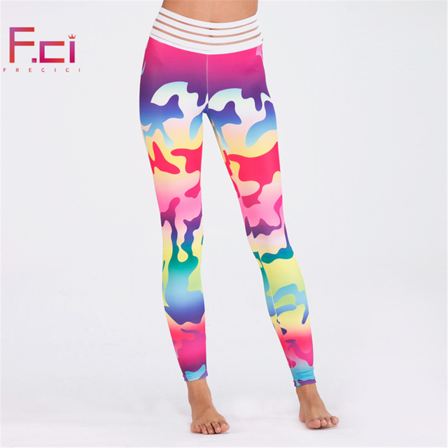 FRECICI Fashion Women Camo Printed Scrunch Booty Leggings High Waist Camouflage Pants Workout Fitness Girls Camouflage leggings