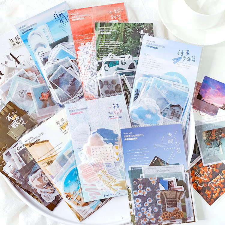 40pcs/pack Life Records Stationery Stickers Decoration DIY Album Diary Scrapbooking Stickers Collage Journal Stick Label