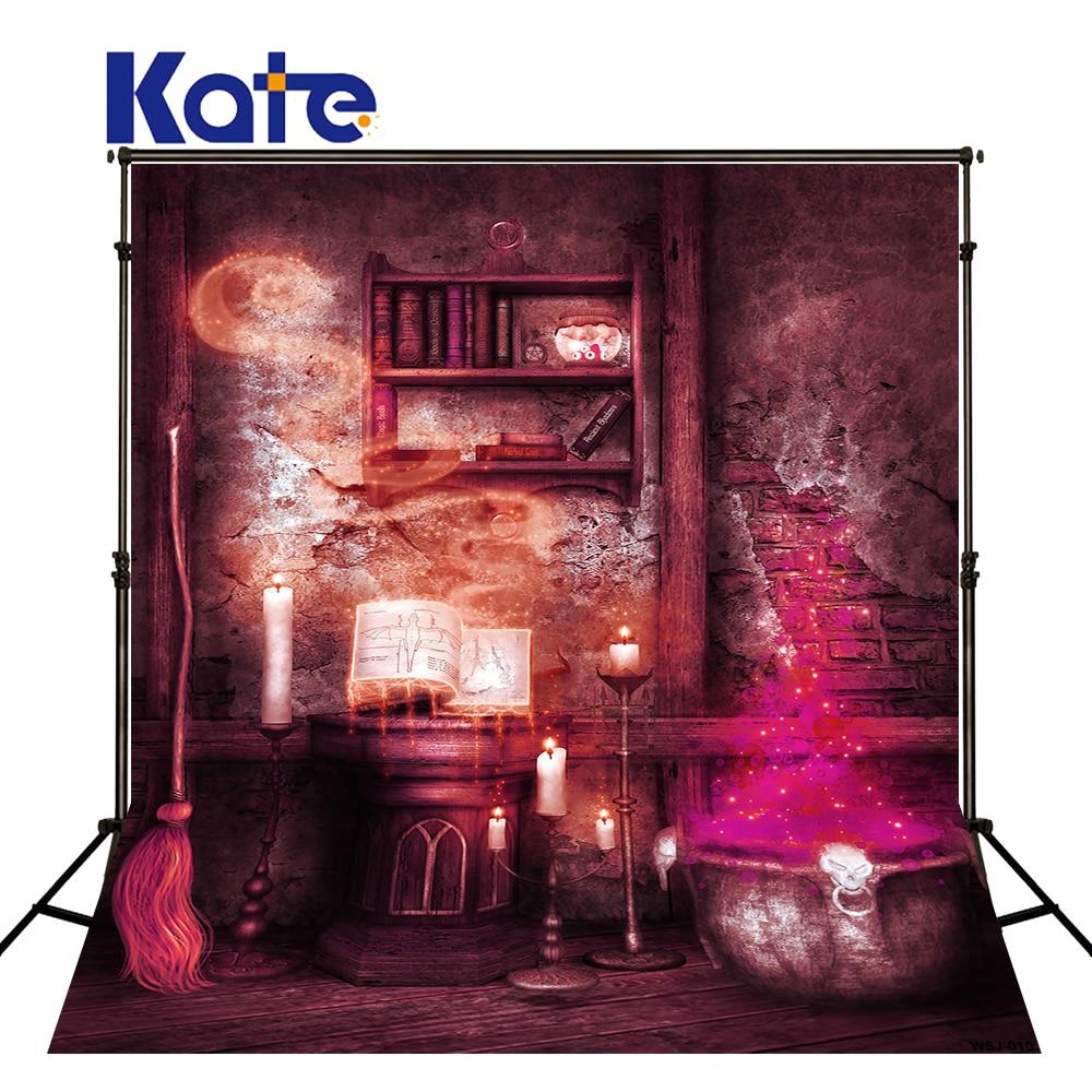 Fotografija Backdrops Žvakė Magija Šluota Helovyno fonas - Fotoaparatas ir nuotrauka