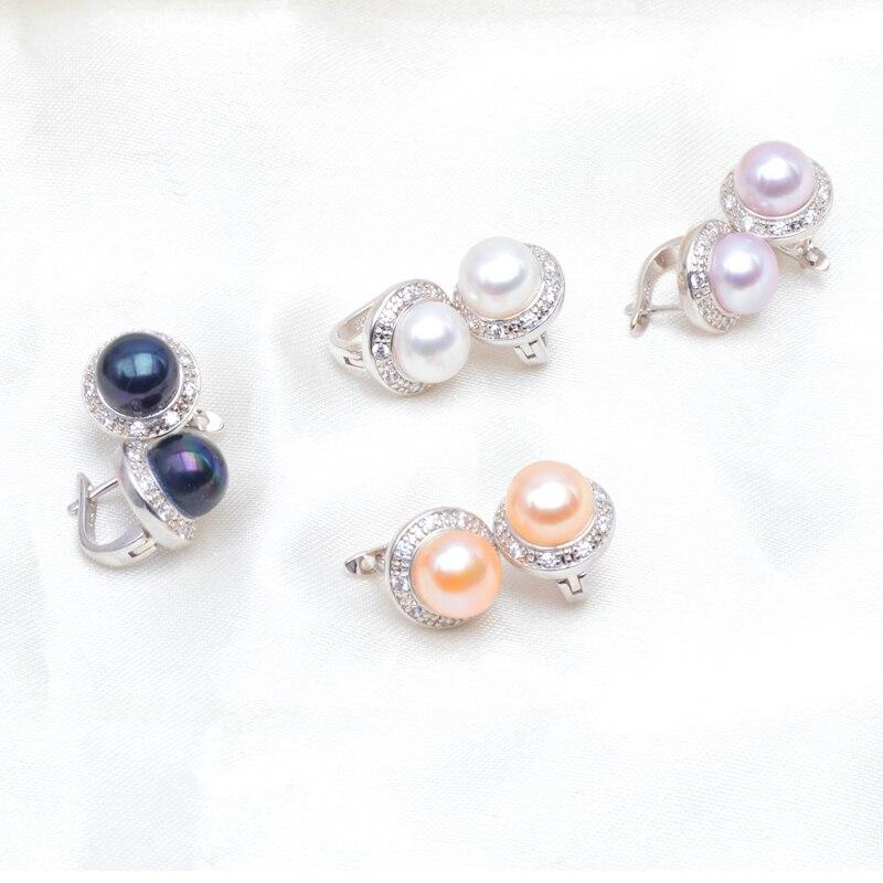 ASHIQI ekte naturlig ferskvann perle stud øredobber for kvinner - Fine smykker - Bilde 5
