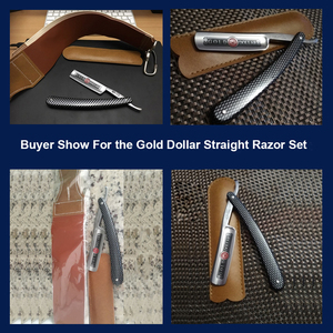 Image 5 - Gold Dollar 208 Straight Razor Cut Throat Shaving Folding Knife+ Leather Sharpening Belt Shaver Razor Strop For Men Shave Beard