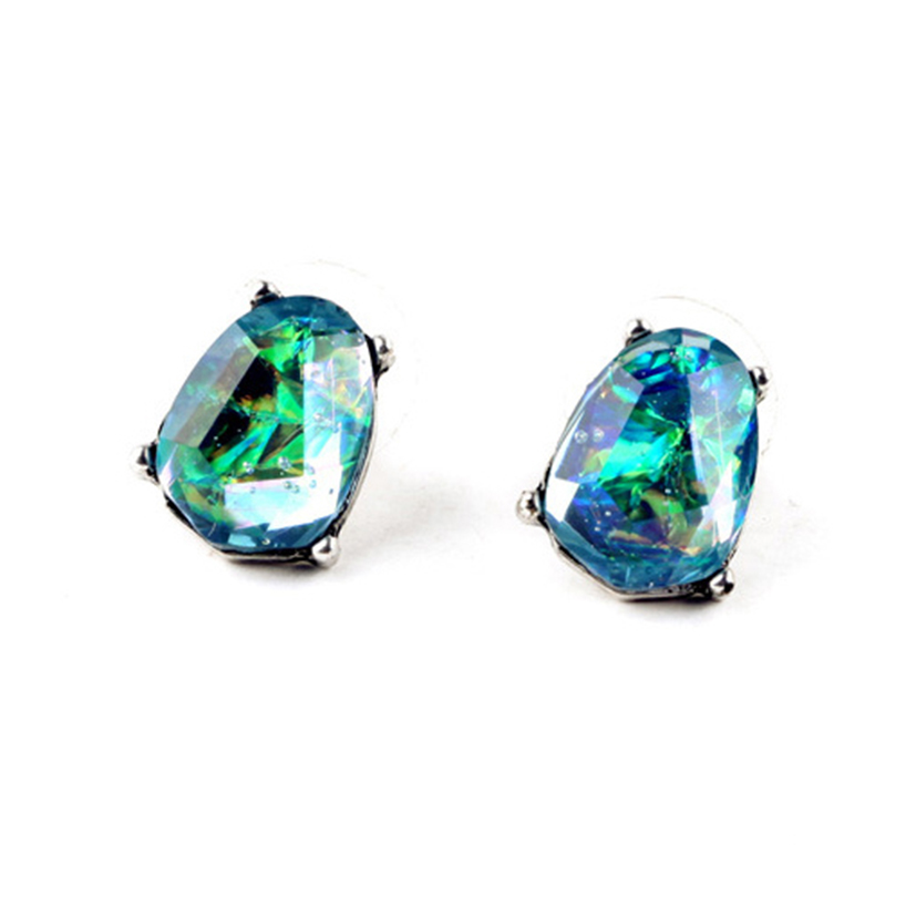YJX030 Mist Stud Earrings Radiant Blue + Antique Silver Designer Opal Earrings