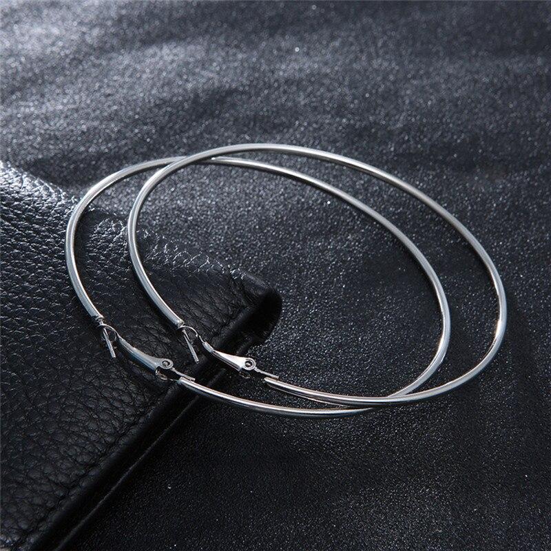 1 Para Großen Kreis Glatte Metall Creolen Große Mode Frauen Gold Silber Übertreibung Ohr 8 Cm 10 Cm Warm Und Winddicht