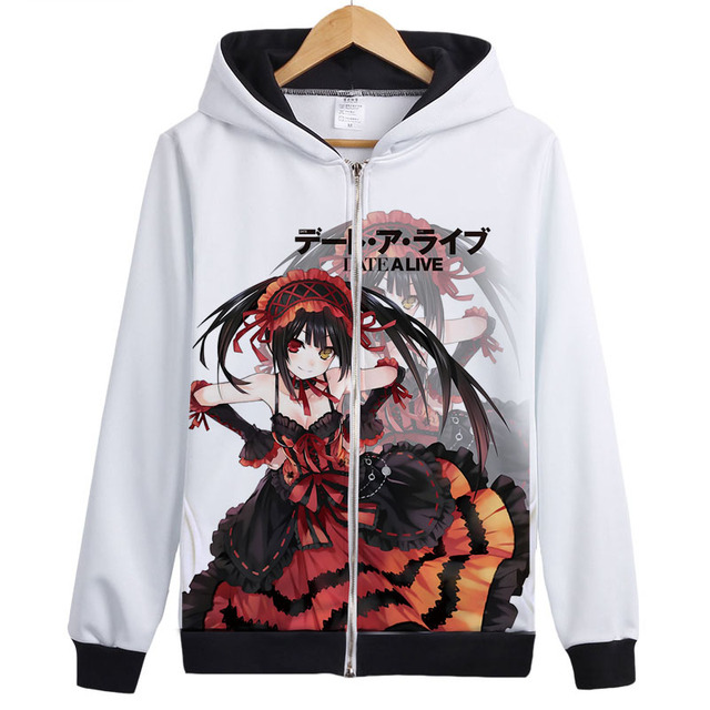 date a live cosplay tokisaki kurumi yoshino Hoodie Sweatshirt Zipper Outerwear Jacket coat cute lovely Anime Hoodies