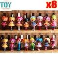 Nova 8 pcs lalaloopsy mini dolls playhouse sereia todos diferentes coleções de baby girl toys presentes de aniversário