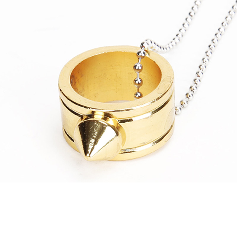 Golden Survival Safety Self Defense Finger Ring Necklace Stainless Steel Chain Protective Jewelry