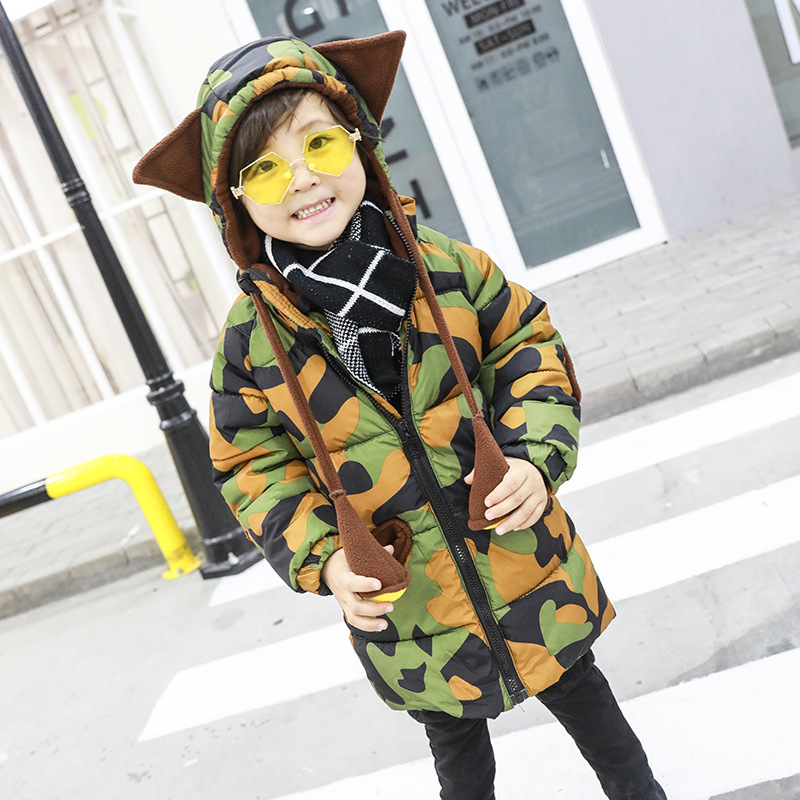 2019 New Winter Jackets Boys Long Thick Camouflage Hoodie Coat Children Korean Fashion Coat 2-7 Years2019 New Winter Jackets Boys Long Thick Camouflage Hoodie Coat Children Korean Fashion Coat 2-7 Years