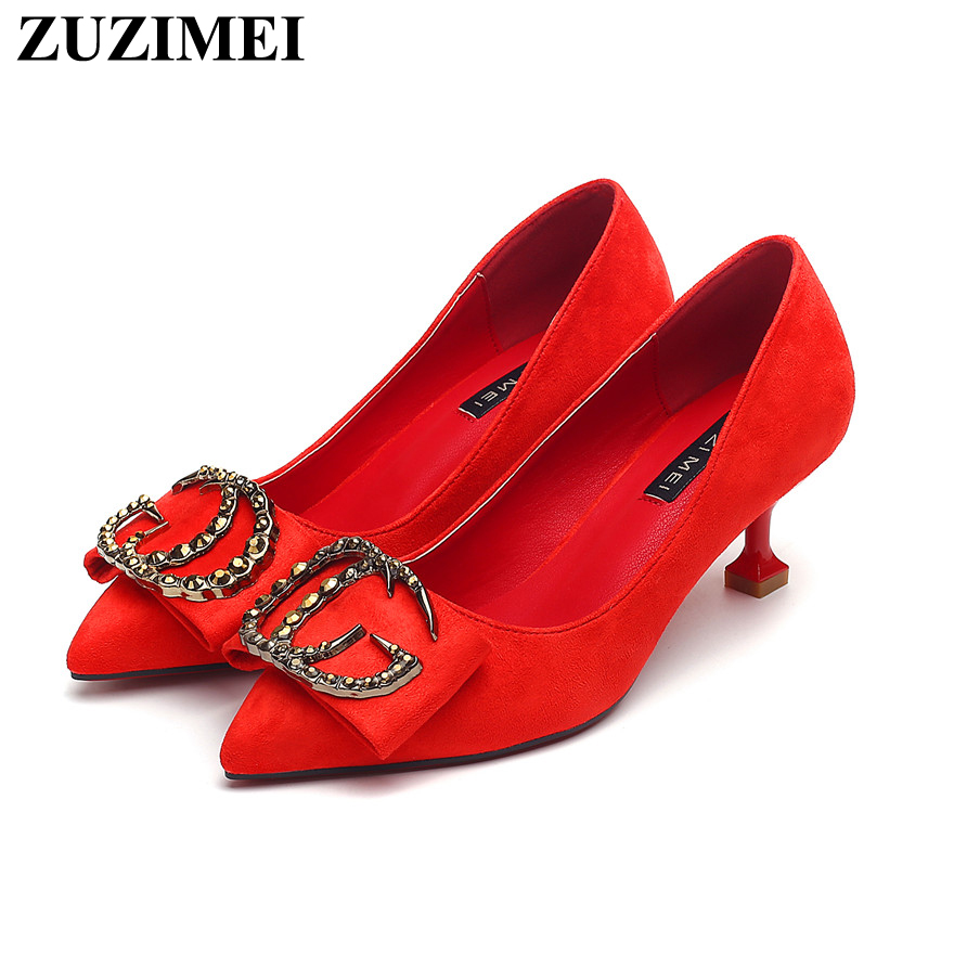 Noir Rouge Boucle 5 Talons Pompes Cm Mariage rouge Chaussures Pointu Fête Cristal De Métal Classiques Profonde Mode Peu Bout Femmes En Med q4RdxF