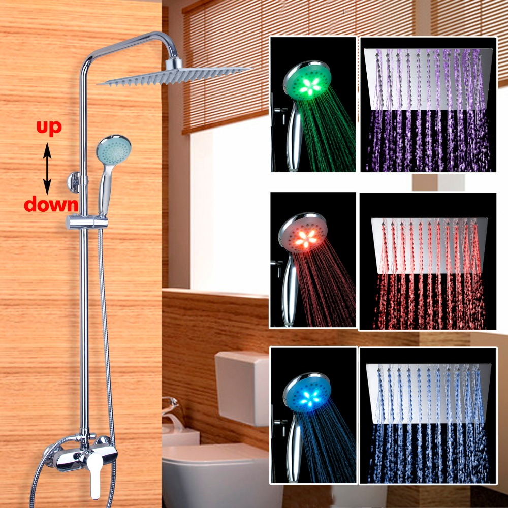 LED Three Color Changing Bathroom Shower Set Chrome Wall Mounted Shower Faucet 8 Shower Head Adjustable Height Shower Set
