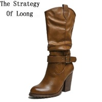 Winter Thick Heels Buckle Retro Women Half Boots Spring Autumn Fashion Lady Vintage Martin Boots Motorcycle
