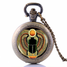 Scarab Vintage Alloy Animal Pendant Women Mens Ancient Egypt Pocket Watch Necklace Gift