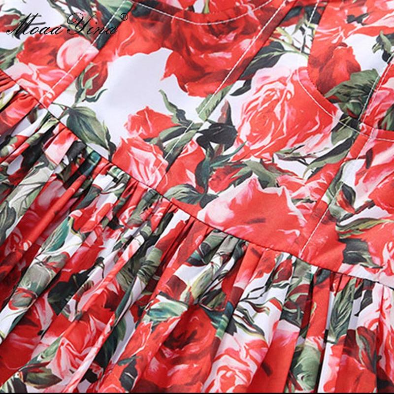 Moaayina Stampa Delle Cascading Estate Sfera Donne Progettista Pista Del Cinghia Backless Modo Dell'abito Di Rosso Floreale Spaghetti Della Dalla Ruffle Spiaggia Vestito qZBqxzr