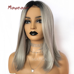 Ombre Grey Short Bob Wigs For Women Short Straight Synthetic Lace Front Wig 180 Density