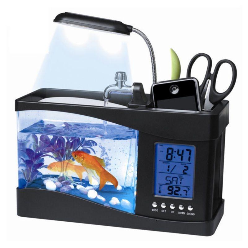 Lumière LCD écran d'affichage Aquarium USB Mini Aquarium Aquarium Aquarium avec lampe à LED et horloge Aquarium noir blanc