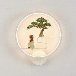 Oświetlenie naścienne LED w stylu Retro w stylu chińskim kreatywny okrągły pokój dziecięcy lampka nocna naścienna sztuka korytarz alejek kinkiet lampa ozdobna domu
