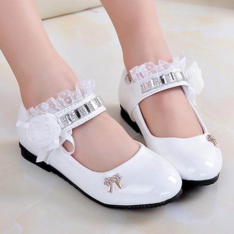 Lace Girl Shoes Kids Girls Princess White Wedding Shoes ...
